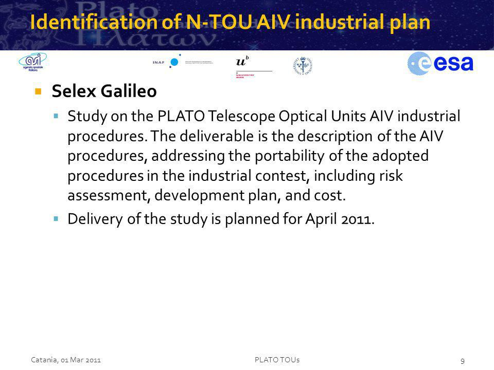 Identification of N-TOU AIV industrial plan Selex Galileo Study on the PLATO Telescope Optical Units AIV industrial procedures. The deliverable is the
