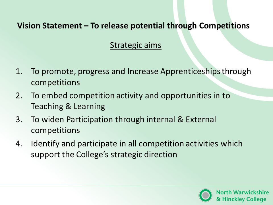 Strategic Aim: To promote, progress and Increase Apprenticeships through competitions Strategic objective: 1.1 Maximise the use of competition case studies for apprentices Strategic Plan actionsBy WhomBy When Comments 1 Use case studies of staff and learners to promote competitions DS MS June 13 2 Use Apprenticeships on publication such as college leaflets and Apprenticeship materials MarketingJune 13 3 Plan and produce a poster campaign across college featuring Apprentices in competitions DSJune/July 13 4
