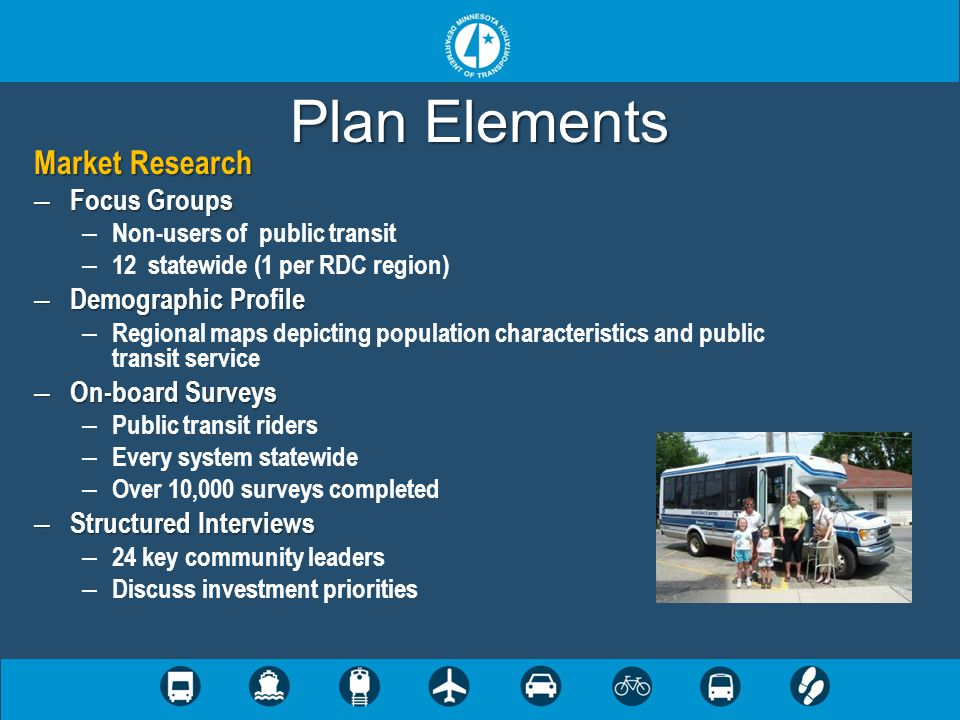 Plan Elements Market Research – Focus Groups – Non-users of public transit – 12 statewide (1 per RDC region) – Demographic Profile – Regional maps dep