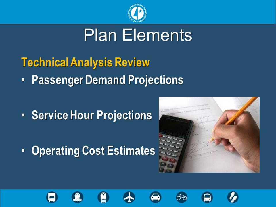 Plan Elements Technical Analysis Review Passenger Demand Projections Passenger Demand Projections Service Hour Projections Service Hour Projections Operating Cost Estimates Operating Cost Estimates
