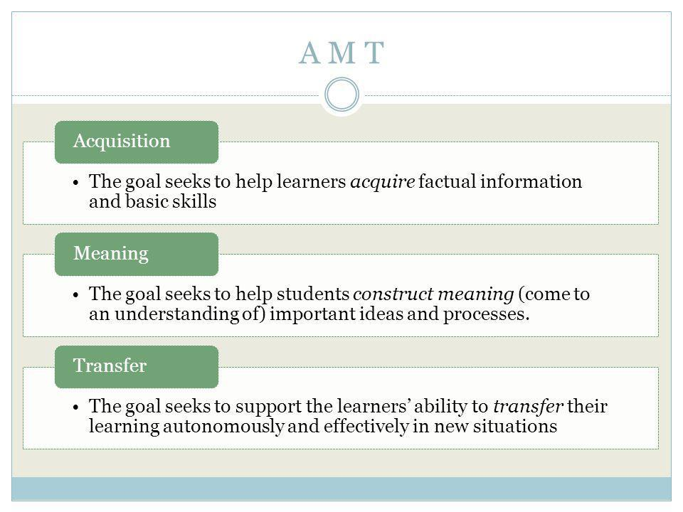 A M T The goal seeks to help learners acquire factual information and basic skills Acquisition The goal seeks to help students construct meaning (come to an understanding of) important ideas and processes.