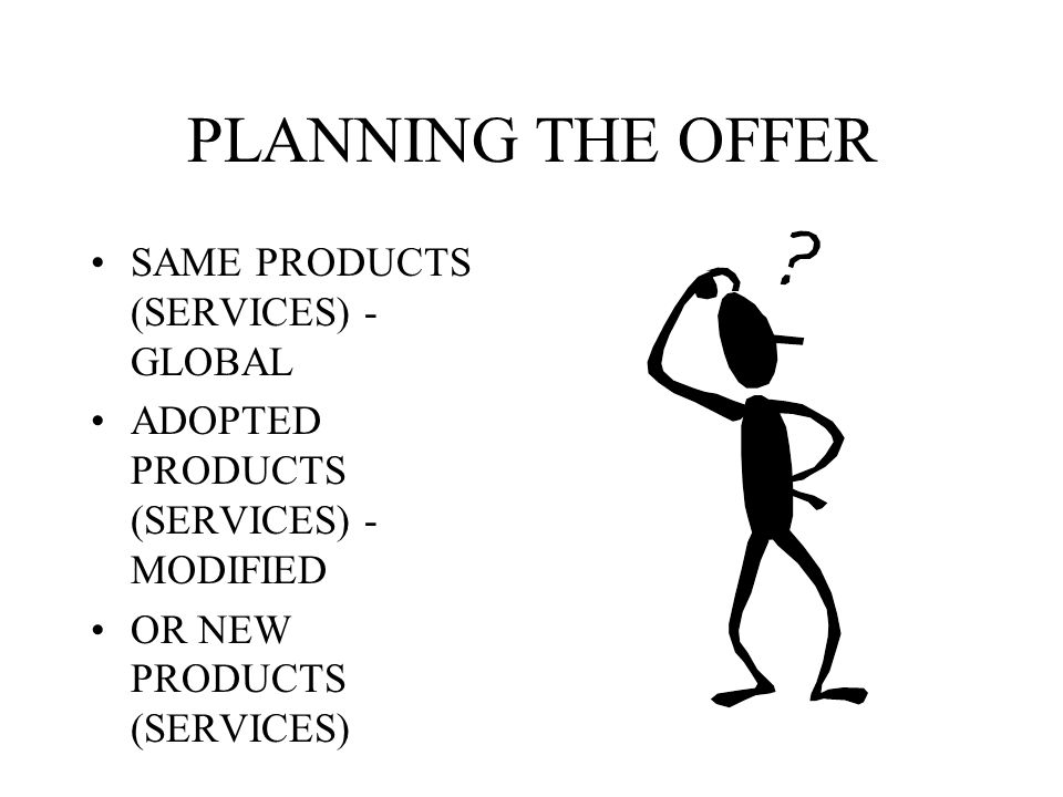 INTERNATIONAL PRODUCT POLICY PLANNING OF THE PRODUCTS (SERVICES) DEVELOPING THE PRODUCTS (SERVICES) MANAGING THE PRODUCTS IN THE FOREIGN MARKETS