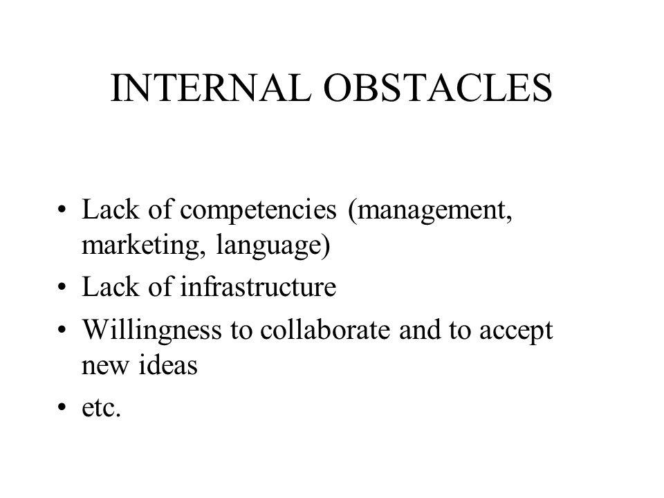 OBSTACLES OF INTERNATIONALISATION Internal External Methodological