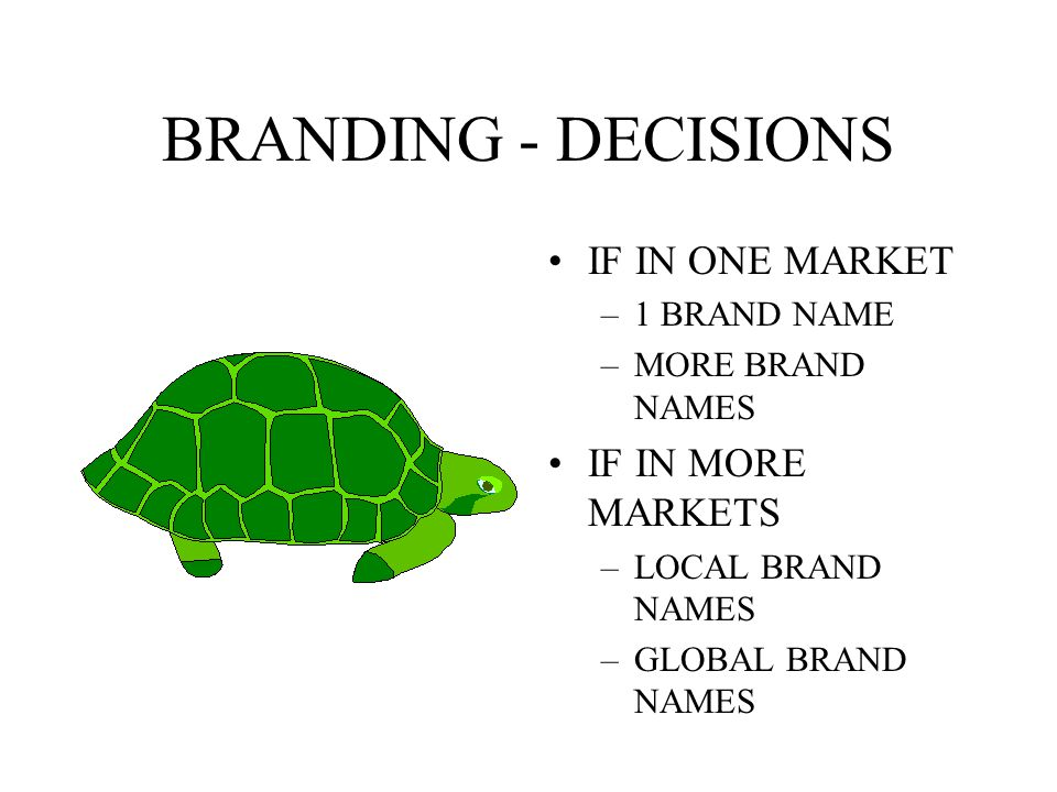 BRANDING - DECISIONS TO USE BRAND NAMES OR NOT IF YES, –OWN BRAND NAM – DISTRIBUTORS BRAND NAME – OTHER IF OWN, – IN ONE MARKET – IN MORE MARKETS
