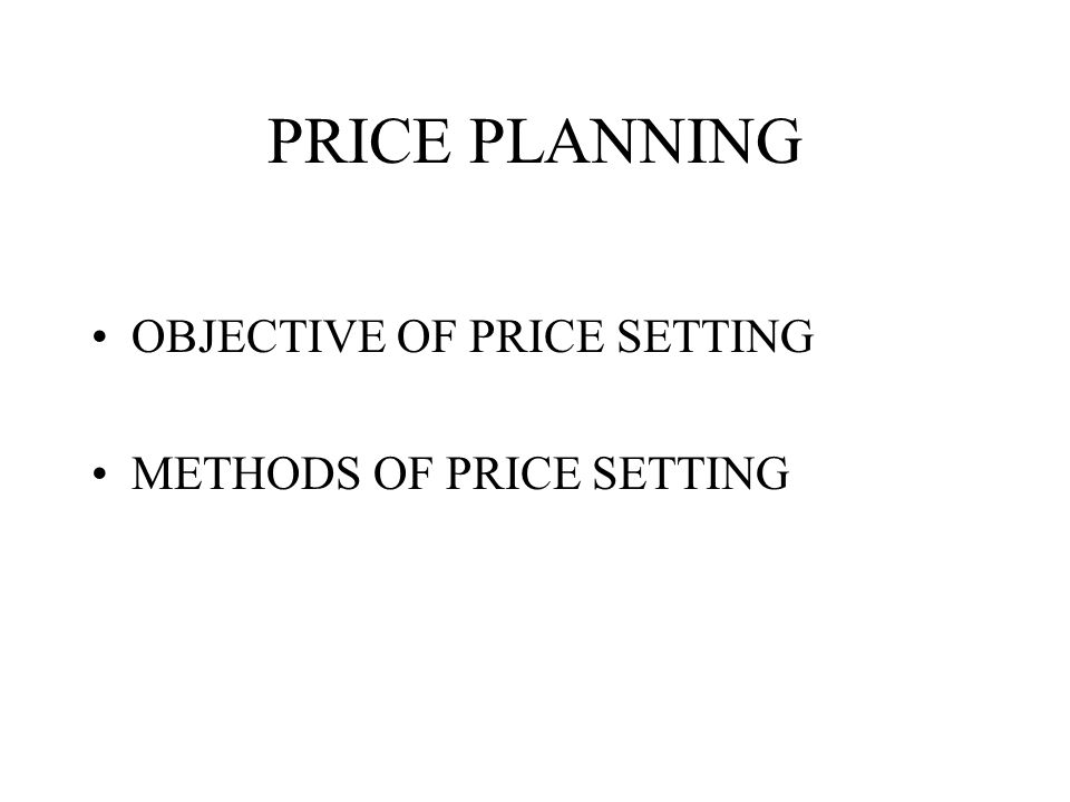 INTERNATIONAL PRICING POLICY INTERNATIONAL PLANNING INTERNATIONAL IMPLEMENTATION INTERNATIONAL MANAGEMENT OF THE PRICES