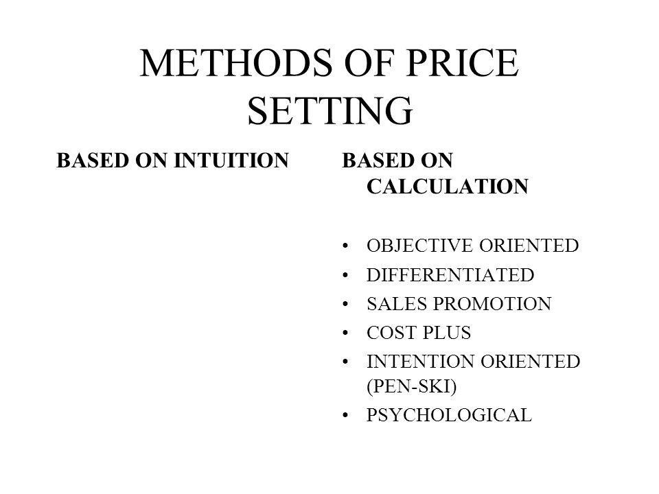 OBJECTIVES OF PRICE SETTING PROFIT SALES VOLUME MARKET SHARE IMAGE TRANSFER IMAGE
