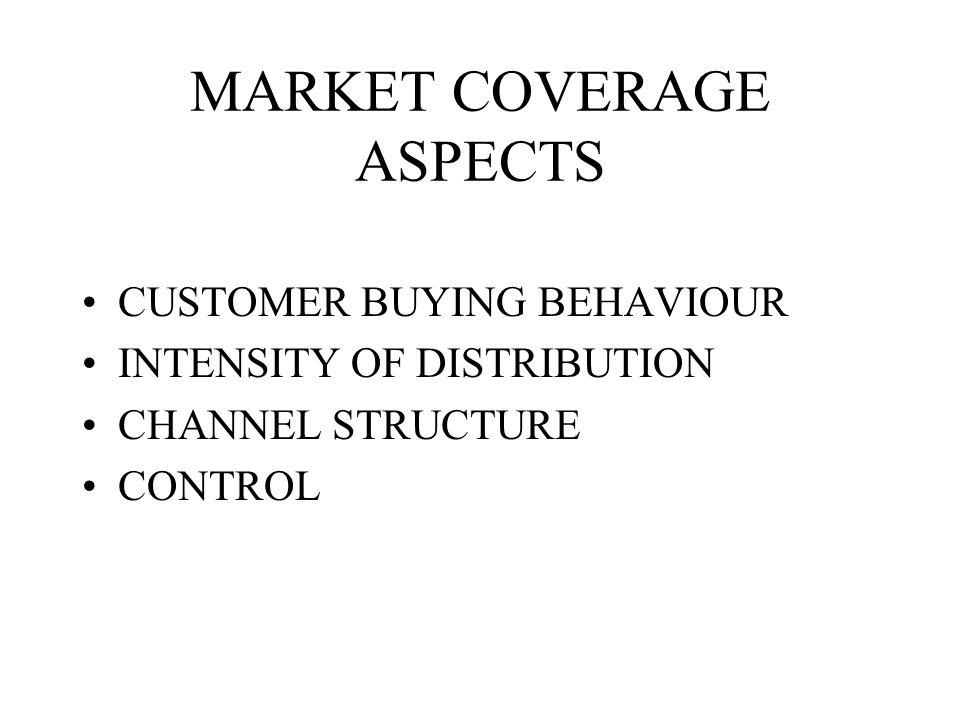 CHANNEL DESIGN MARKET COVERAGE ASPECTS PRODUCT CHARACTERISTICS CUSTOMER SERVICE ASPECTS PROFITABILITY
