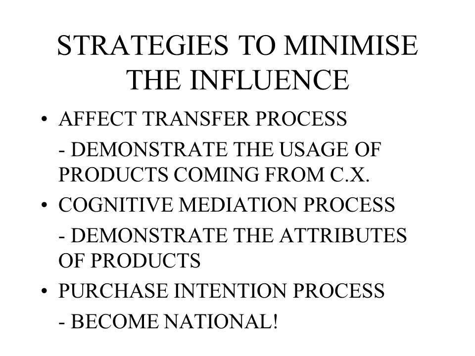 COUNTRY OF ORIGIN EFFECTS AFFECT TRANSFER PROCESS COGNITIVE MEDIATION PROCESS PURCHASE INTENTION EFFECT