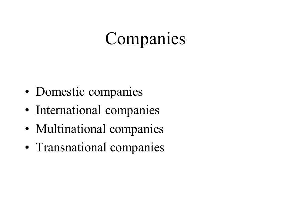 International marketing concepts New classification –Domestic market extension concept –Multi domestic concept –Global marketing concept