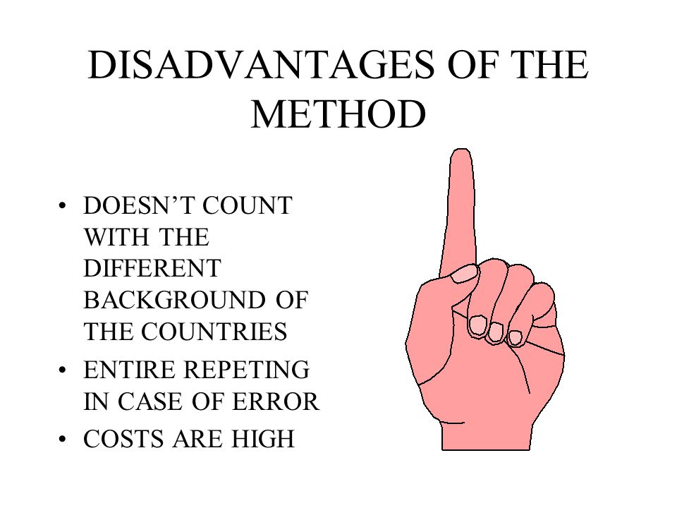 ADVANTAGES OF THE METHOD POSSIBILITY TO TRANSFER KNOWLEDGE COMPARE THE BEHAVIOUR