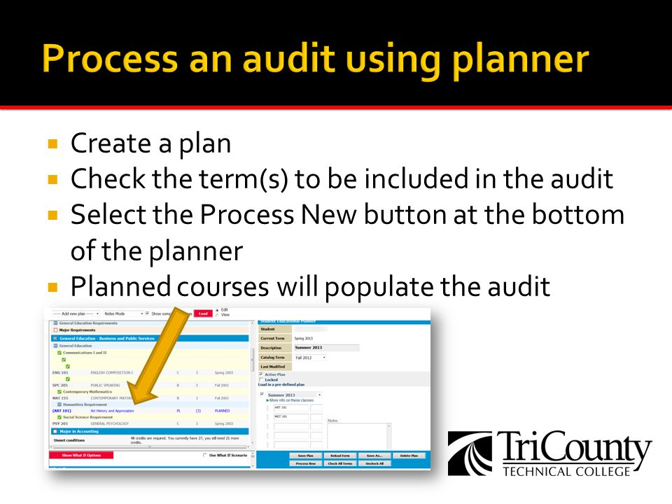 Create a plan Check the term(s) to be included in the audit Select the Process New button at the bottom of the planner Planned courses will populate t