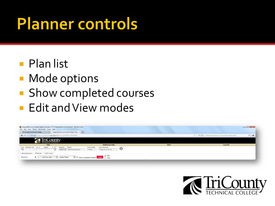 Plan list Mode options Show completed courses Edit and View modes