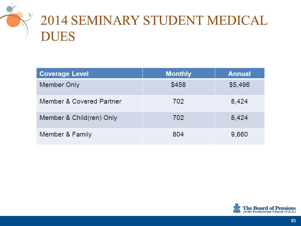 2014 SEMINARY STUDENT MEDICAL DUES Coverage LevelMonthlyAnnual Member Only$458$5,496 Member & Covered Partner7028,424 Member & Child(ren) Only7028,424