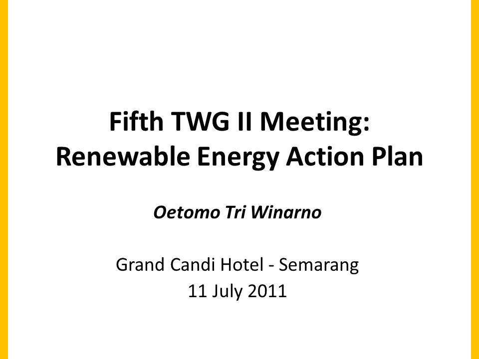 Fifth TWG II Meeting: Renewable Energy Action Plan Oetomo Tri Winarno Grand Candi Hotel - Semarang 11 July 2011