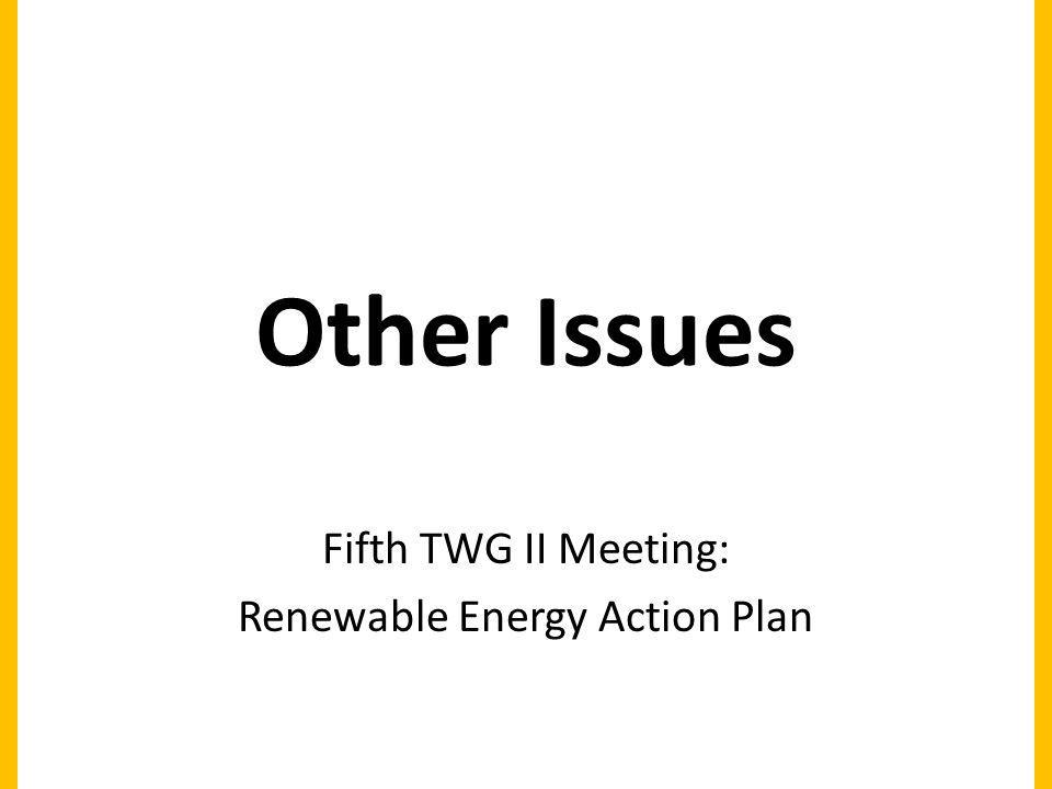 Other Issues Fifth TWG II Meeting: Renewable Energy Action Plan