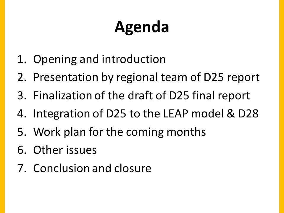 Agenda 1.Opening and introduction 2.Presentation by regional team of D25 report 3.Finalization of the draft of D25 final report 4.Integration of D25 to the LEAP model & D28 5.Work plan for the coming months 6.Other issues 7.Conclusion and closure