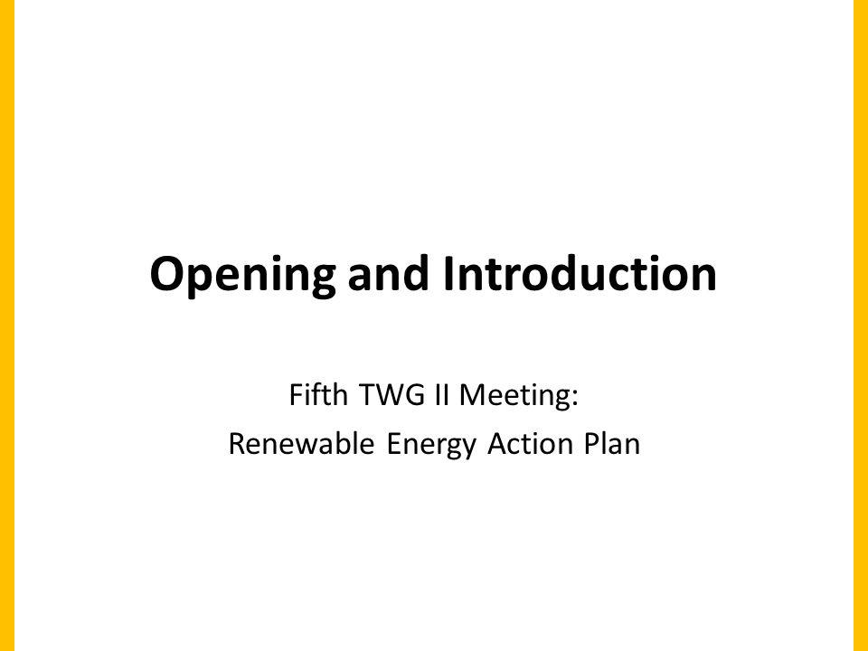 Opening and Introduction Fifth TWG II Meeting: Renewable Energy Action Plan