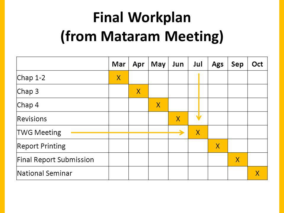 Final Workplan (from Mataram Meeting) MarAprMayJunJulAgsSepOct Chap 1-2X Chap 3 X Chap 4 X Revisions X TWG Meeting X Report Printing X Final Report Submission X National Seminar X