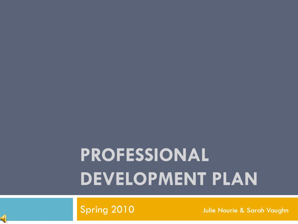 PROFESSIONAL DEVELOPMENT PLAN Spring 2010 Julie Nourie & Sarah Vaughn