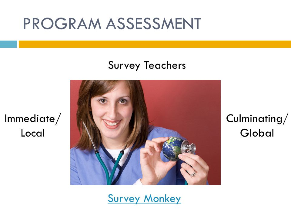 PROGRAM ASSESSMENT Survey Teachers Immediate/ Local Culminating/ Global Survey Monkey