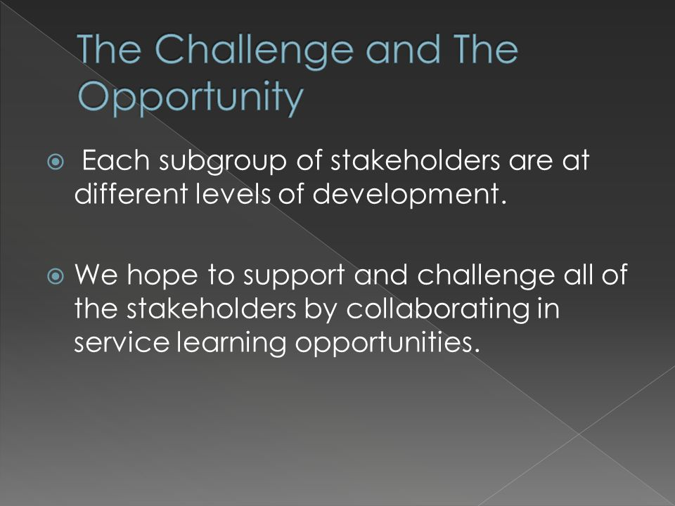 Each subgroup of stakeholders are at different levels of development. We hope to support and challenge all of the stakeholders by collaborating in ser