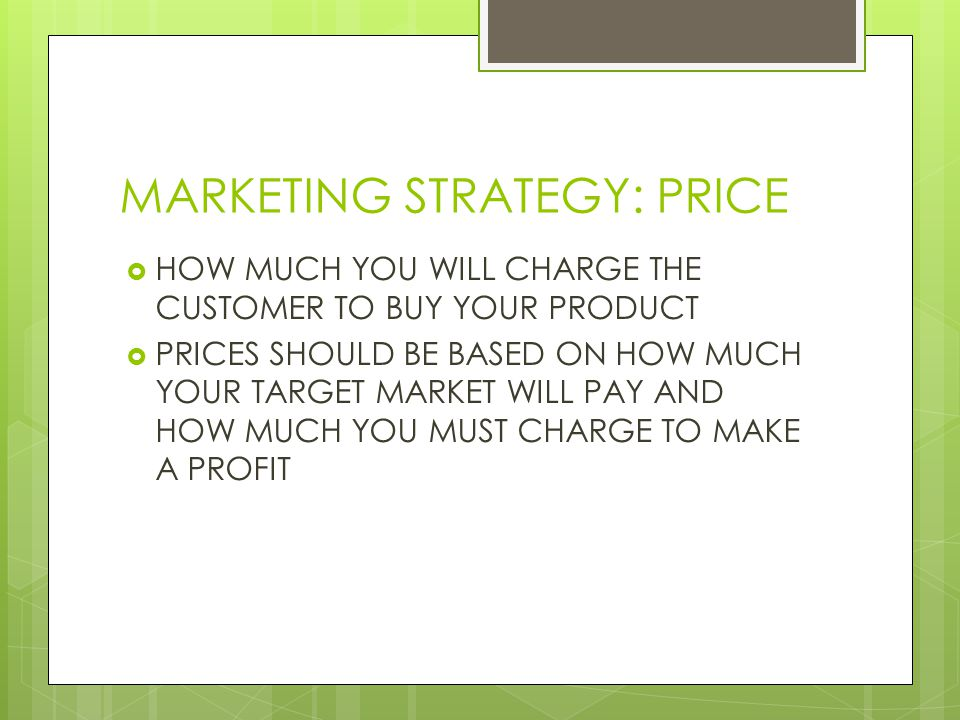 MARKETING STRATEGY: PRICE HOW MUCH YOU WILL CHARGE THE CUSTOMER TO BUY YOUR PRODUCT PRICES SHOULD BE BASED ON HOW MUCH YOUR TARGET MARKET WILL PAY AND
