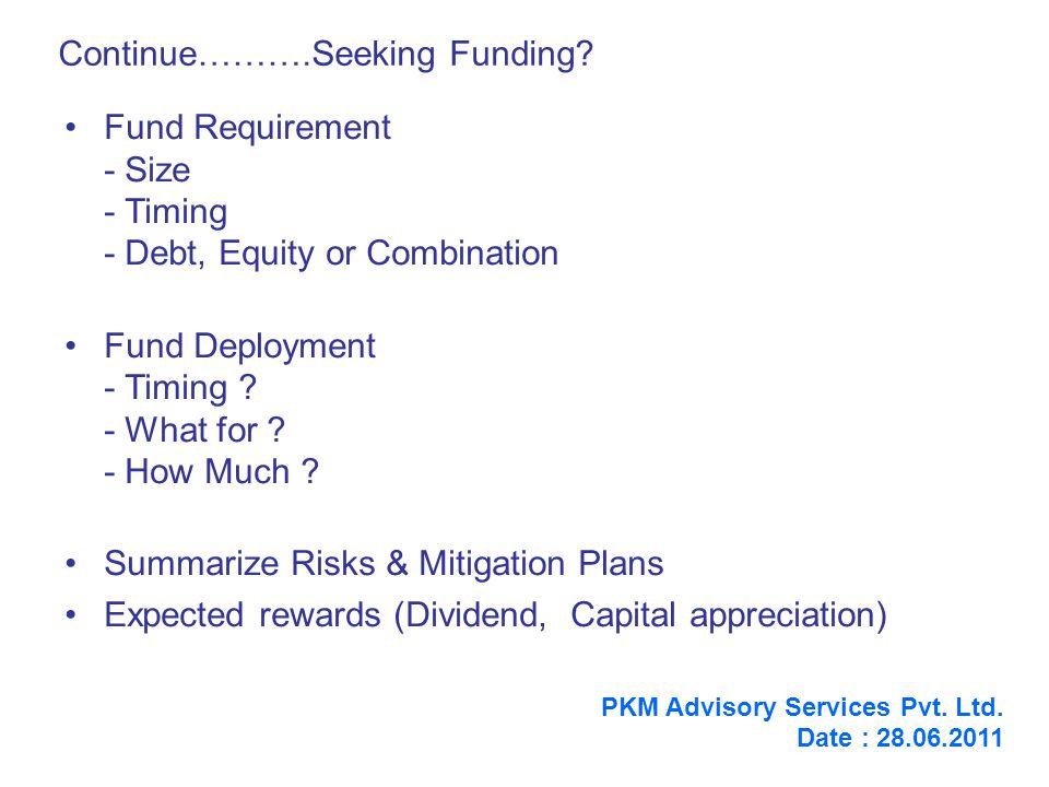 Continue……….Seeking Funding.