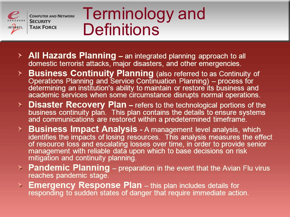 Importance of Preparing Planning provides for backup If primary staff unavailable – who will do the work.