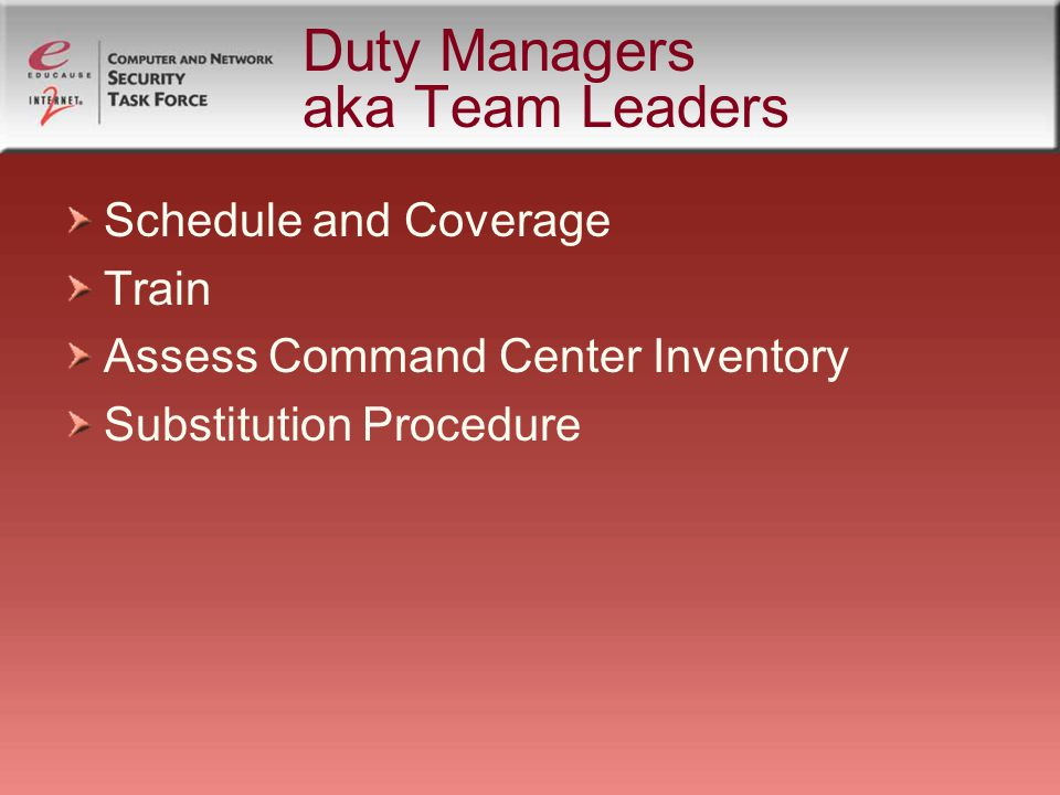 Duty Managers aka Team Leaders Schedule and Coverage Train Assess Command Center Inventory Substitution Procedure