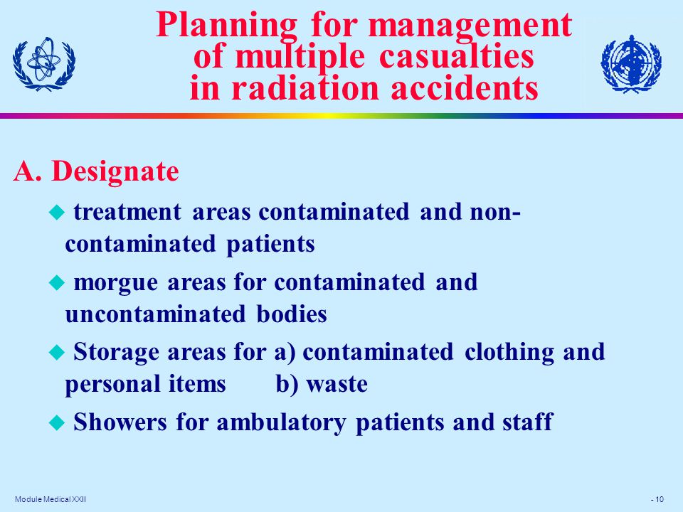 Module Medical XXII - 10 Planning for management of multiple casualties in radiation accidents A.Designate u treatment areas contaminated and non- contaminated patients u morgue areas for contaminated and uncontaminated bodies u Storage areas for a) contaminated clothing and personal items b) waste u Showers for ambulatory patients and staff