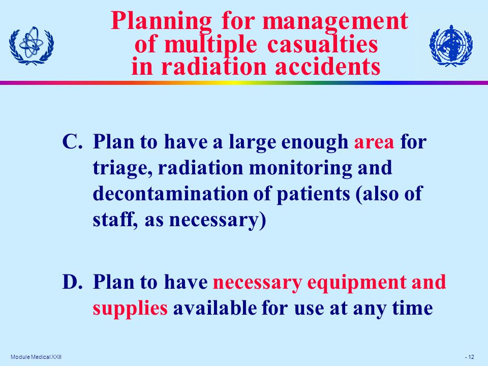 Module Medical XXII - 12 C.Plan to have a large enough area for triage, radiation monitoring and decontamination of patients (also of staff, as necessary) D.Plan to have necessary equipment and supplies available for use at any time Planning for management of multiple casualties in radiation accidents