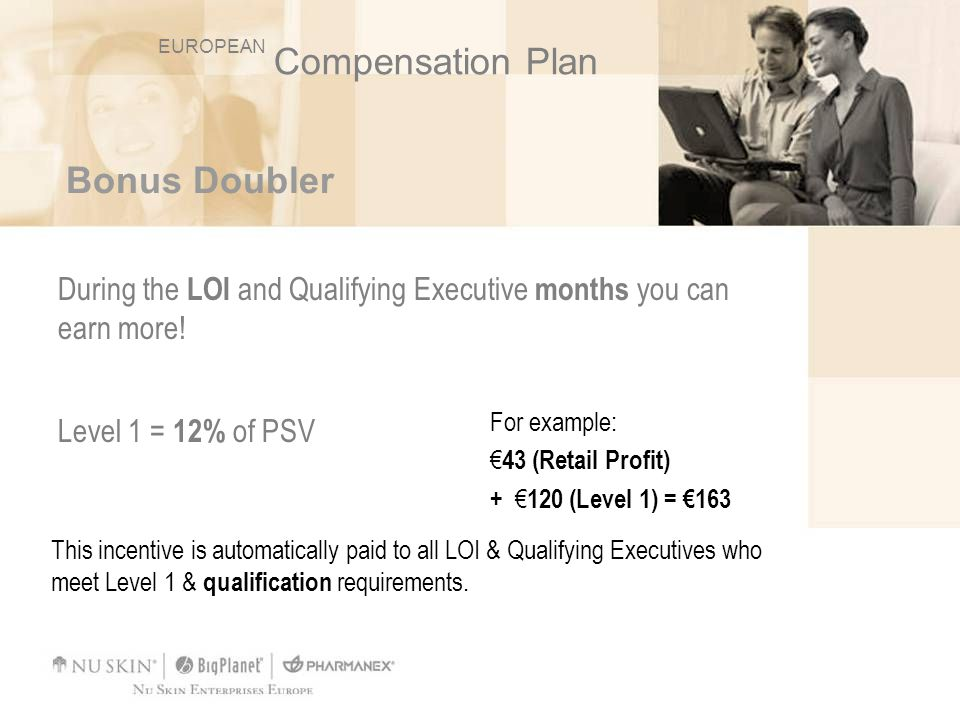 Bonus Doubler During the LOI and Qualifying Executive months you can earn more! Level 1 = 12% of PSV For example: 43 (Retail Profit) + 120 (Level 1) =