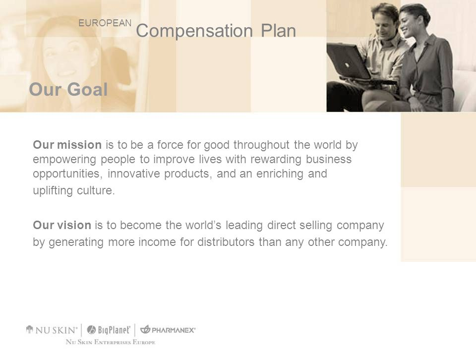 Our Compensation Plan Our compensation plan is recognised as one of the most generous in the industry, rewarding distributors for hard work, long-term commitment, and leadership.