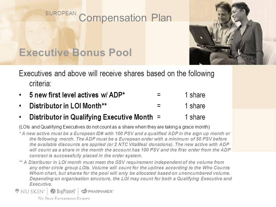 Executive Bonus Pool Executives and above will receive shares based on the following criteria: 5 new first level actives w/ ADP* = 1 share Distributor