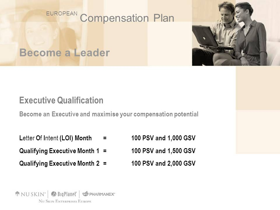 Become a Leader Executive Qualification Become an Executive and maximise your compensation potential L etter O f I ntent (LOI) Month = 100 PSV and 1,0