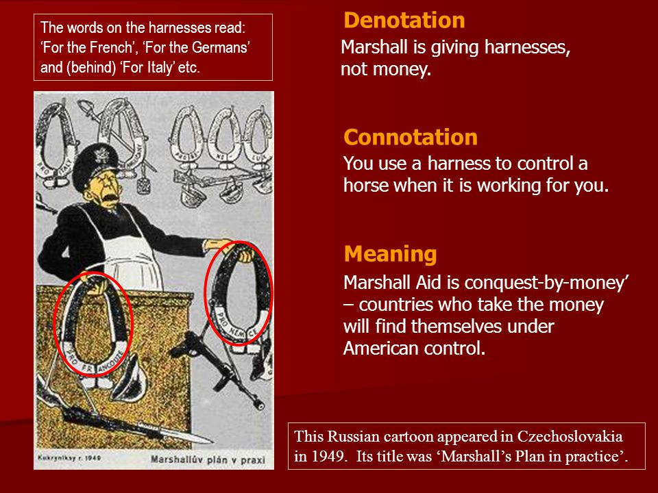 Marshall is giving harnesses, not money. You use a harness to control a horse when it is working for you. Denotation Connotation Meaning Marshall Aid