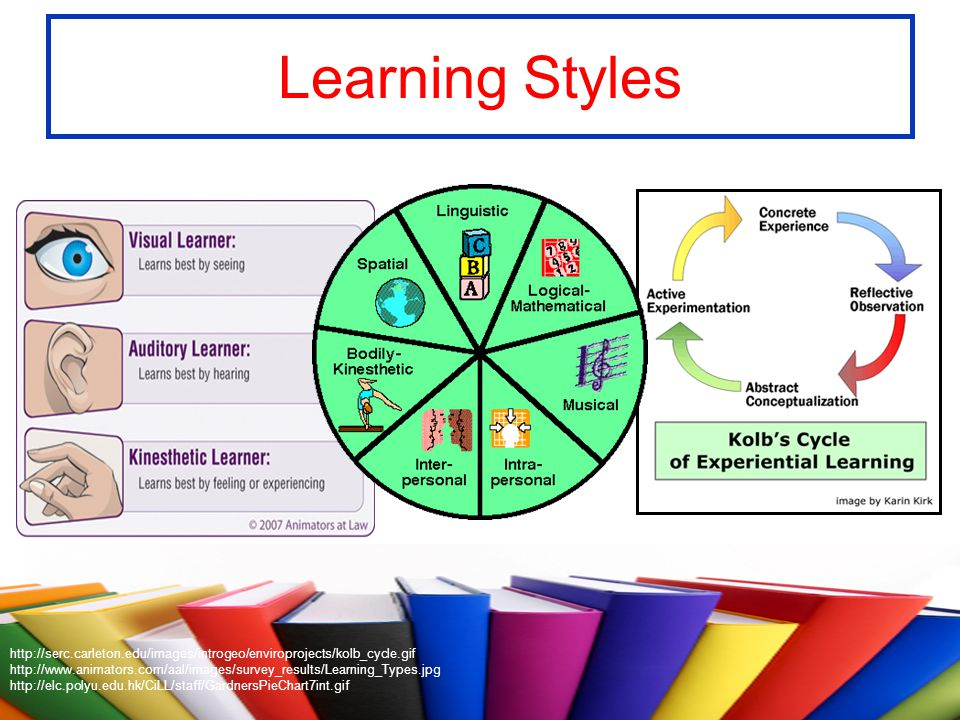 Learning Styles http://serc.carleton.edu/images/introgeo/enviroprojects/kolb_cycle.gif http://www.animators.com/aal/images/survey_results/Learning_Typ