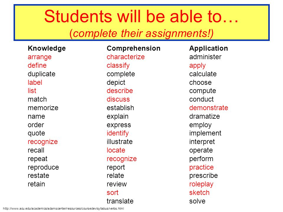Students will be able to… (complete their assignments!) Knowledge arrange define duplicate label list match memorize name order quote recognize recall
