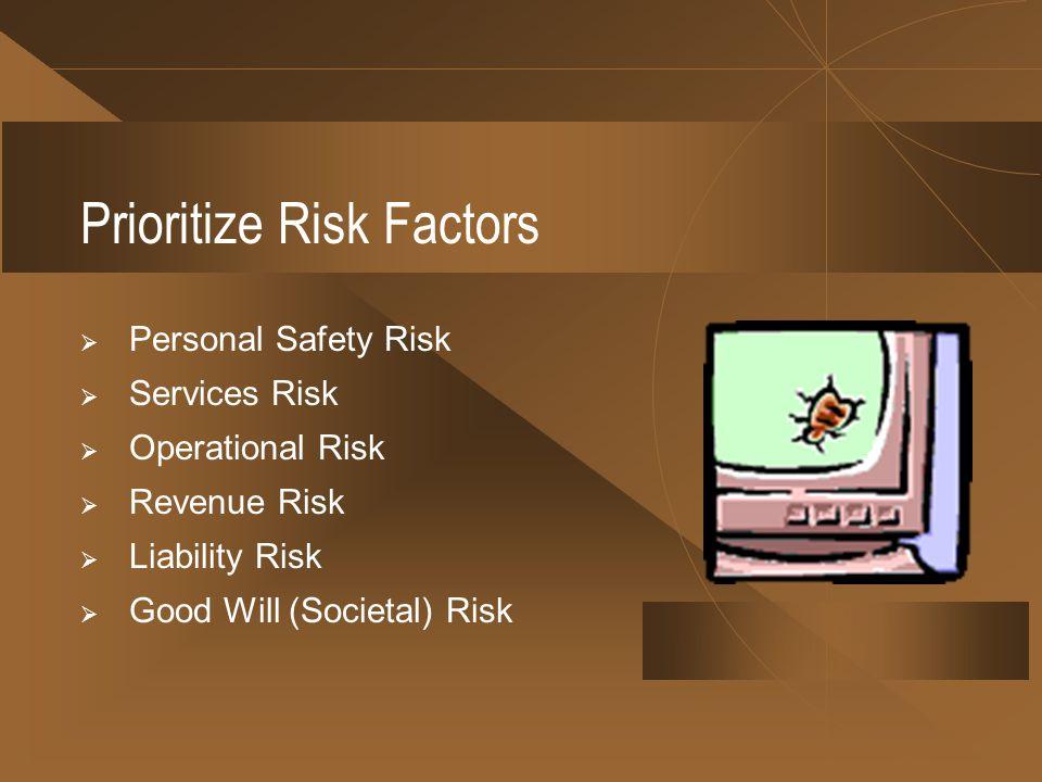Prioritize Risk Factors Personal Safety Risk Services Risk Operational Risk Revenue Risk Liability Risk Good Will (Societal) Risk