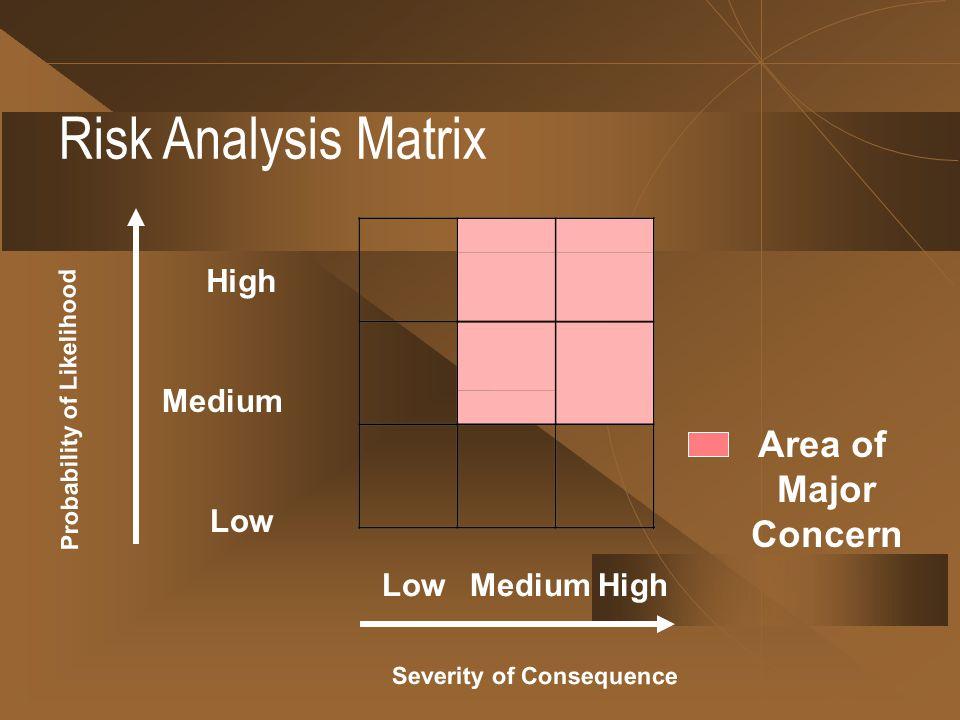 Risk Analysis Matrix Probability of Likelihood Severity of Consequence High Medium Low MediumHigh Area of Major Concern