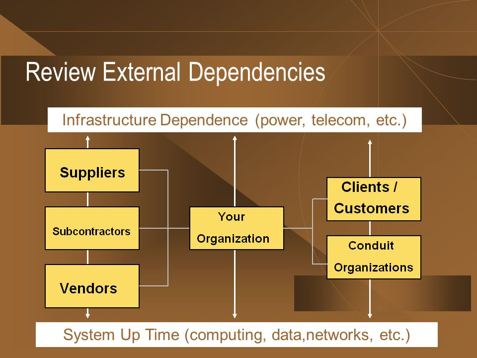 Review External Dependencies Infrastructure Dependence (power, telecom, etc.) System Up Time (computing, data,networks, etc.)