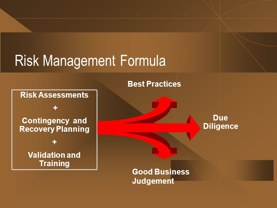 Risk Management Formula Risk Assessments + Contingency and Recovery Planning + Validation and Training Due Diligence Best Practices Good Business Judgement