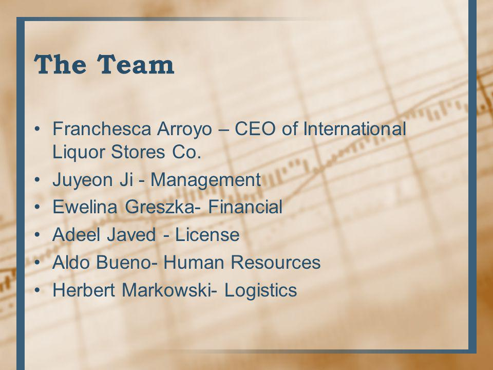 The Team Franchesca Arroyo – CEO of International Liquor Stores Co.
