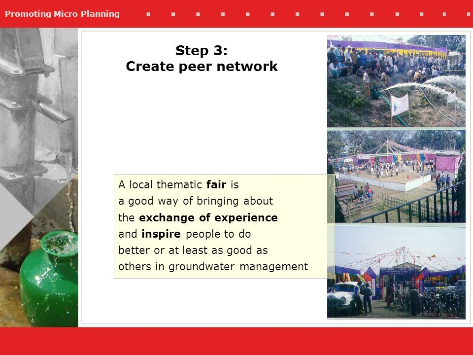 Promoting Micro Planning Step 3: Create peer network A local thematic fair is a good way of bringing about the exchange of experience and inspire people to do better or at least as good as others in groundwater management