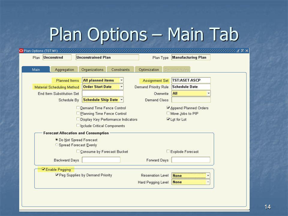 14 Plan Options – Main Tab