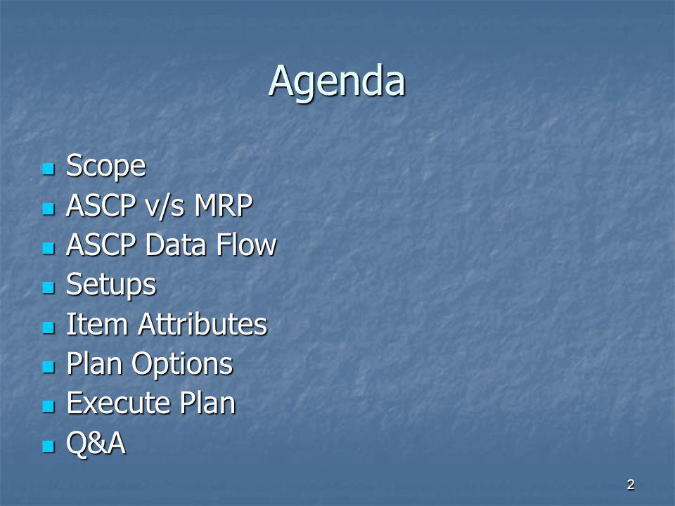 2 Agenda Scope Scope ASCP v/s MRP ASCP v/s MRP ASCP Data Flow ASCP Data Flow Setups Setups Item Attributes Item Attributes Plan Options Plan Options E