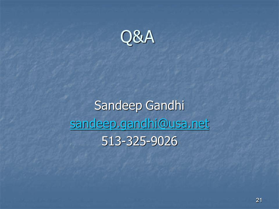 21 Q&A Sandeep Gandhi sandeep.gandhi@usa.net 513-325-9026
