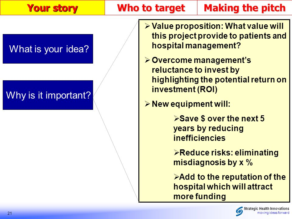 Strategic Health Innovations moving ideas forward 21 Your story Who to target Making the pitch Value proposition: What value will this project provide