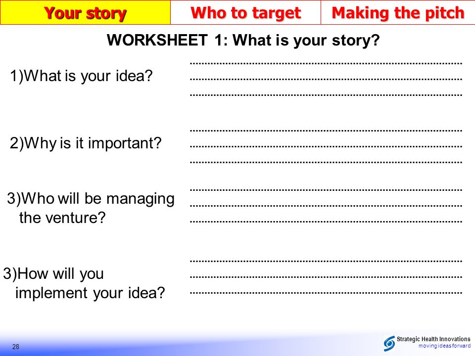 Strategic Health Innovations moving ideas forward 28 Your story Who to target Making the pitch 1)What is your idea? 2)Why is it important? 3)How will