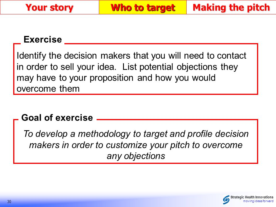 Strategic Health Innovations moving ideas forward 30 Your story Who to target Making the pitch Goal of exercise Exercise Identify the decision makers